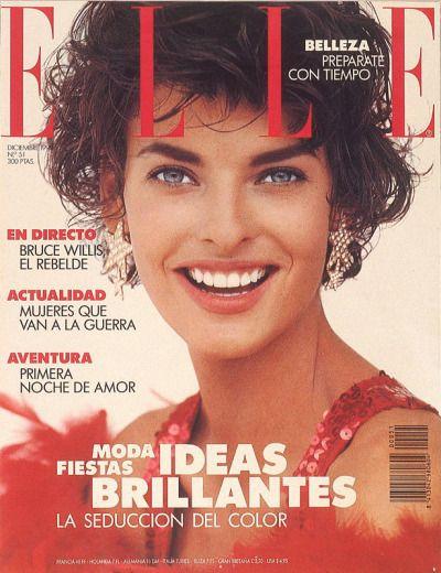 """"""" Elle Spain, December 1990. Model: Linda Evangelista. """""""