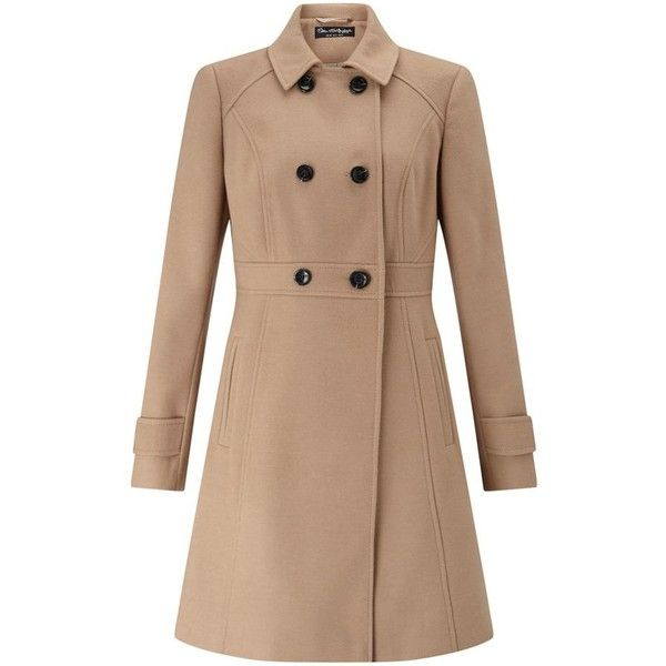 Miss Selfridge Camel double breasted coat ($73) ❤ liked on Polyvore featuring outerwear, coats, tops, miss selfridge, beige coat, miss selfridge coats, camel coat and double-breasted coat