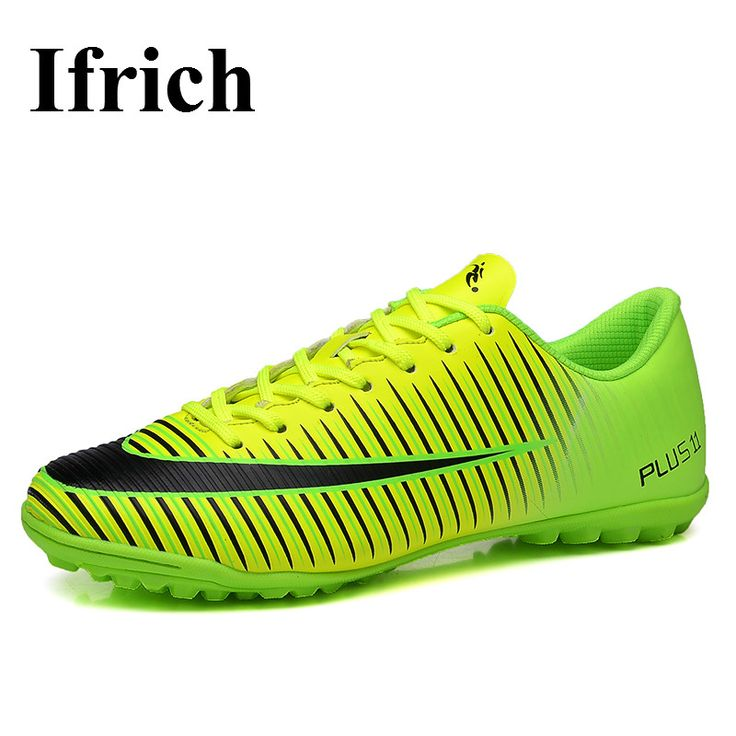 Ifrich Mens Kids Football Shoes Turf Cleats Green Sliver Leather Shoe Indoor Football Sneakers Cheap Leather Soccer Cleats #Affiliate