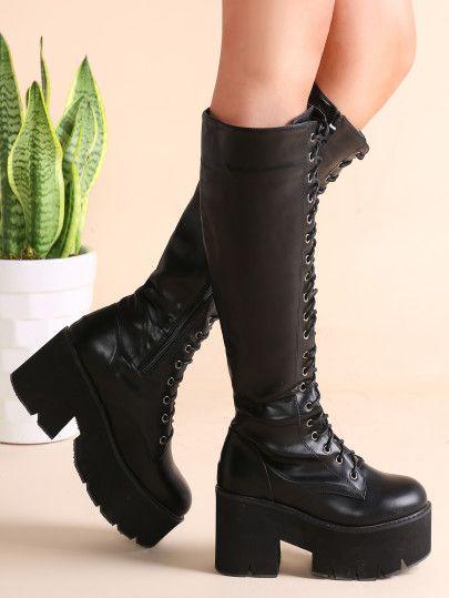 Botas de cuero sintético con cordón y plataforma - negro