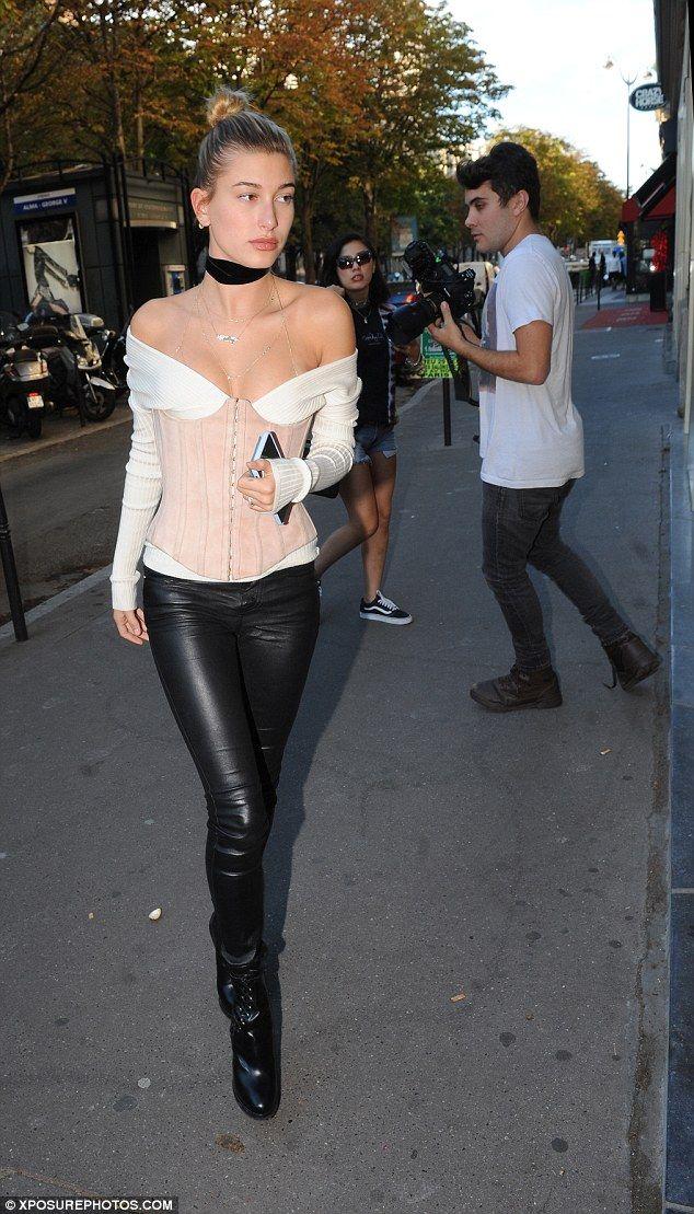 Catwalk queen: Hailey Baldwin  brought a modern interpretation on Marie Antoinette to Pari...