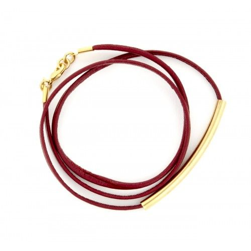 Leather Plated Wrap Bracelet  - Oxblood
