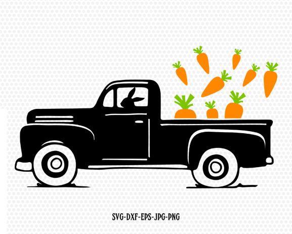 Easter Vintage Truck Svg Easter Old Truck Easter Carrots Svg