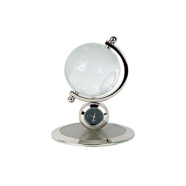 Monique Crystal Globe Desktop Clock - Modern Decor at Modern Furniture ($65) ❤ liked on Polyvore featuring home, home decor, clocks, mod home decor, modern mantel clocks, modern home accessories, modern globe and crystal globe