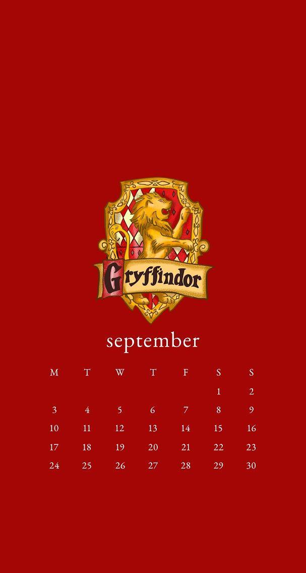 September 2018 Wallpaper Calendar Iphone Harry Potter Gryffindor Calendario Saga