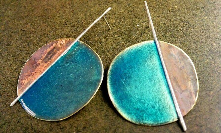 Turquoise enamel for earrings...