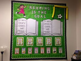 Diary of a Not So Wimpy Teacher: Classroom Reveal! Lots of Pictures! Sports theme classroom reading bulletin board.