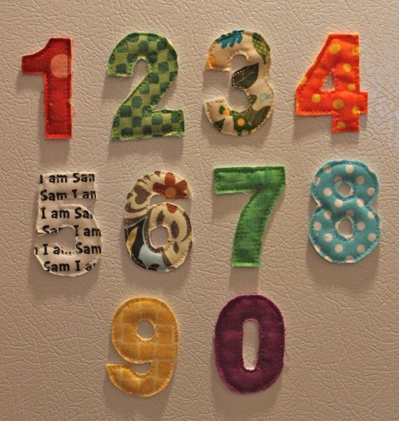 Number Magnets, Fridge Magnets,  Fabric Numbers, Teach Your Child To Count on Etsy, $15.00