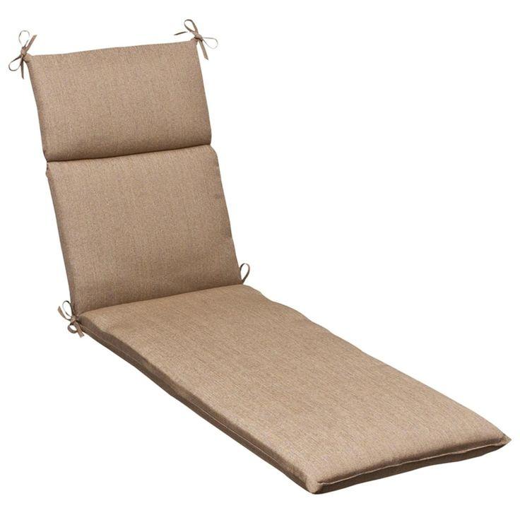 Outdoor Patio Furniture Chaise Lounge Chair Cushion   Textured Tan  Sunbrella, Brown, Outdoor Cushion