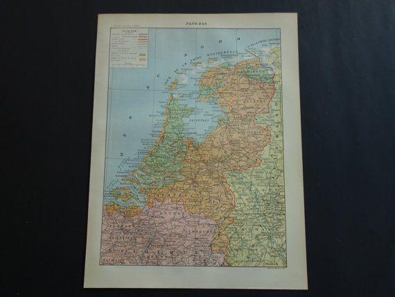HOLLAND old map of the Netherlands 1902 original by VintageOldMaps