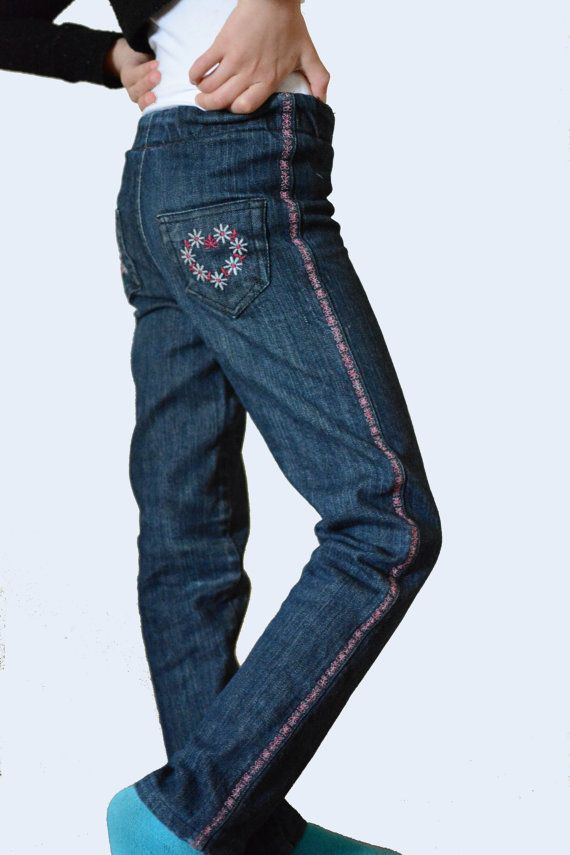 Girls Stylish Skinny Jeans Denim Pants Floral by PetiteLettie