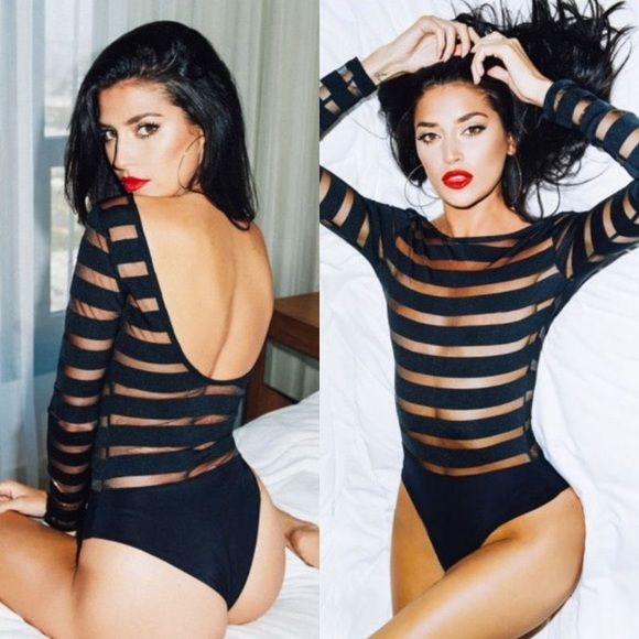 $35 Black Striped Mesh Bodysuit Other sizes available for pre-order: S, M, XL. Comment below to reserve yours! Boutique brand. Nasty Gal Tops