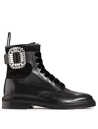 6821495886b ROGER VIVIER Viv' Rangers Strass Buckle Leather Combat Boots Womens ...