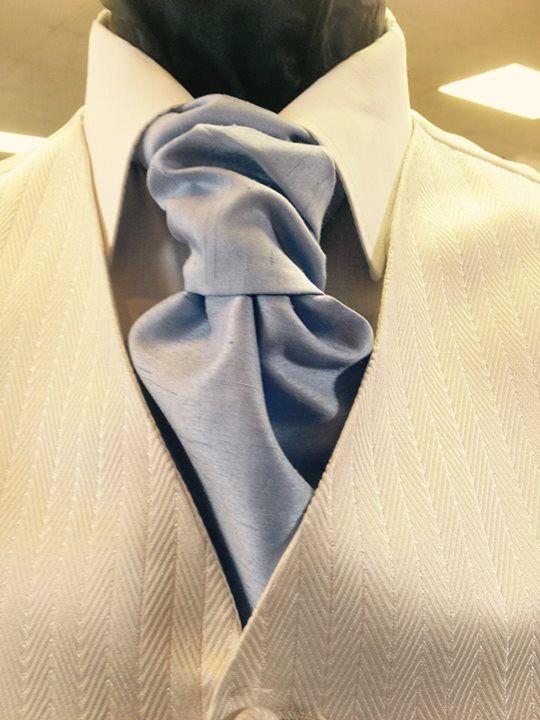 Pastel blue cravat ideal for a spring/summer wedding  #wedding #pastelwedding #wedding2016 #cravats #tails #harveyhire #mensfashion #groomhire #menshire #weddingideas #formalhire
