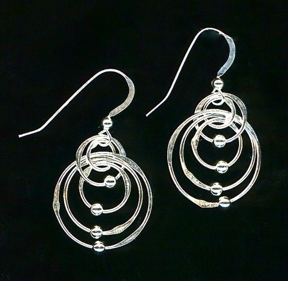 Concentric Circle Earrings: Silver Beaded Earrings Large Sterling Silver Concentric