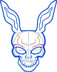 how to draw frank the rabbit, donnie darko step 6