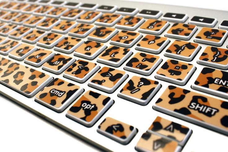 Leopard print keyboard stickers make your computer go 'rawr.'