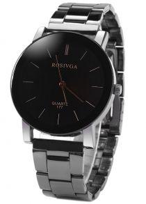 Rosivga 177 Relógio Quartz com Pulseira de Aço Inoxidável Exibição de Listras Mostrador Redondo para Homens