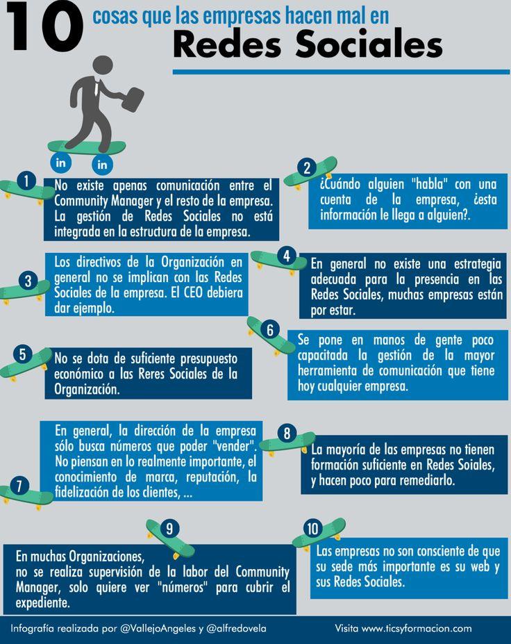 10 cosas que hacen muy mal las empresas en Redes Sociales #infografia