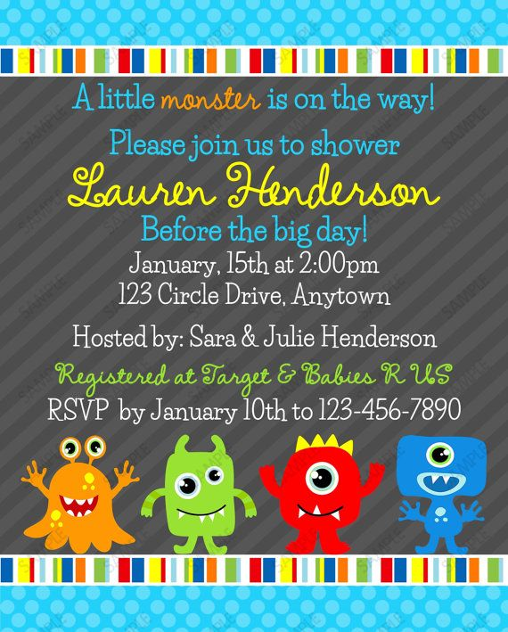 Little Monster Baby Shower Invitation Monsters by PeriwinklePapery