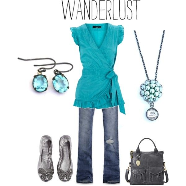 she is full of wanderlust, created by bethquinndesigns on Polyvore: Fashion, Style, Clothes, Cute Casual Outfits, Blue Grey Outfit, Turquoise Outfit, Wanderlust