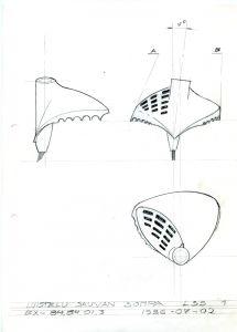 Tuotesuunnittelu Pentti Leskinen: Luonnos luistelusomman rakenteesta / A draft of the basket that is used in skate skiing.