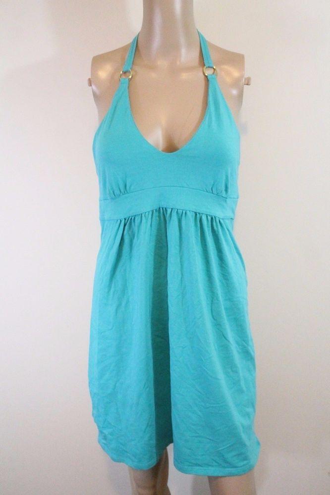 Victoria's Secret Bra Top Halter Sundress M Turquoise Green Jersey Resort Beach  | eBay