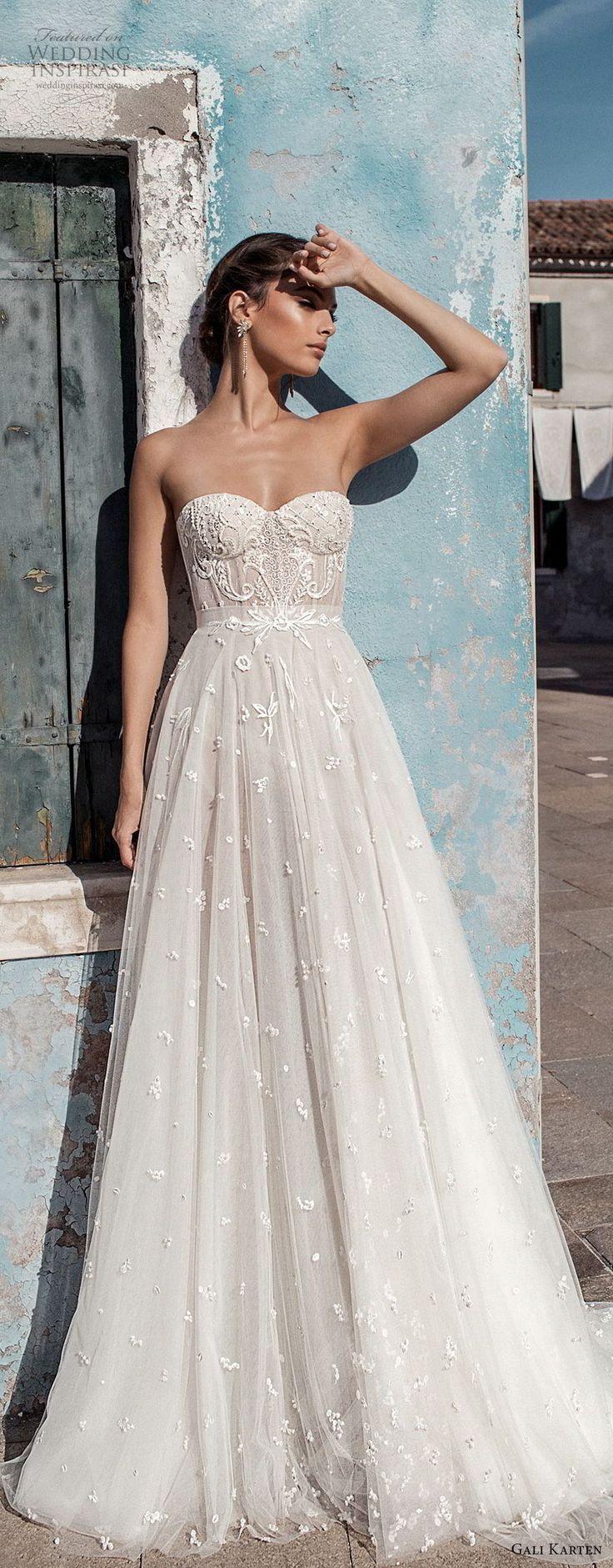 gali karten 2018 bridal strapless sweetheart neckline heavily embellished bodice bustier romantic soft a line wedding dress medium train #beach #wedding #weddingdress