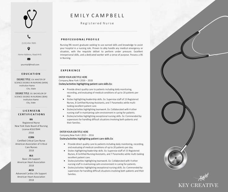 Nurse resume template resume template modern resume etsy