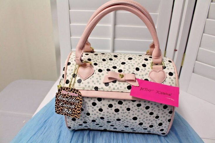 BETSEY JOHNSON Insulated Speedy Lunch spot tote NWT. This is one cool bag! Insulated for hot and cold. So many uses. This is a beautiful spotted pattern with larger black dots and smaller.   eBay!