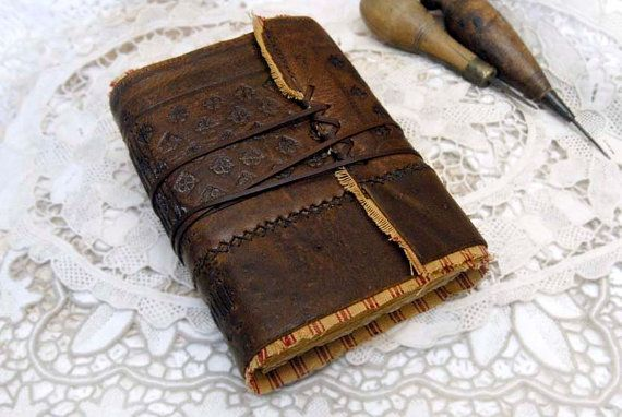 Forgotten Worlds - Vintage Leather Journal, Handbound, Tea Stained Pages, Vintage Fabric, OOAK
