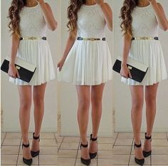 love this look: white #dress, black #heels