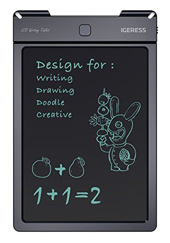 IGERESS 9-inch LCD Writing Tablet Electronic Writing Board Digital Drawing Board Graphic Drawing Tablet Durable  AMAZING LCD WRITING TABLET - Innovation Writing Board tablet's Writing experience is just like writing with pen on paper.  COMFORTABLE: Erase your image quickly with the press of a button - and a friendly flash from the liquid crystal display.  CONVENIENCE: The case and LCD are made from durable plastic materials; Safe for school use and all around the house, office and car....