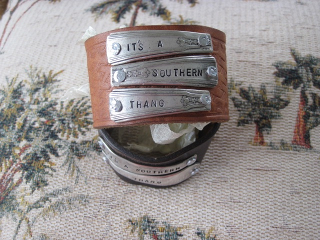 It's A Southern Thang Hand Stamped Vintage Spoon Handles/Leather Bracelets.