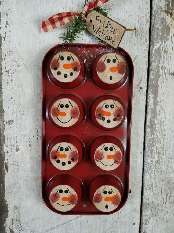 Primitive Snowman on Muffin Pan Primitive Snowmen Metal