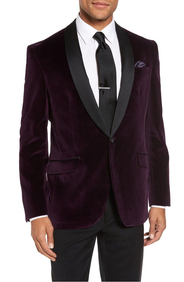 Main Image - Ted Baker London Josh Trim Fit Velvet Dinner Jacket
