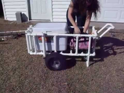 PVC cart for Surf-fishing or just spending a day at the beach, for carrying cooler and beach gear.