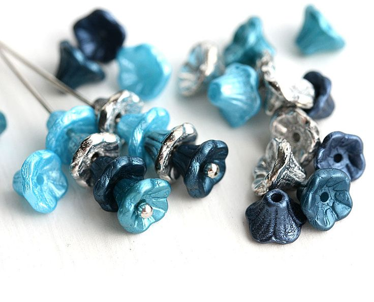 7x5mm Ocean Wave Flower Cups beads Mix, Blue, Silver, Petrol Blue, Teal, Czech glass beads, small bell beads - 25Pc - 2959 by MayaHoney on Etsy