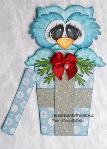Premade Paper Pieced Christmas Owl for Scrapbook Page or Card by Babs svg file from Treasure Box Designs