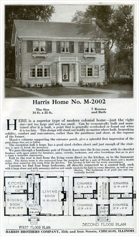 "What could be more classic than a side gabled, two-story Colonial Revival? This home, shown in the 1920 Harris house plans catalog, was designed to be ""just the right size"". A scant 1500 sq. ft. garners four bedrooms, a single bath, and a good size living room. Classic Revival symmetry and simplicity mark this traditional house plan."