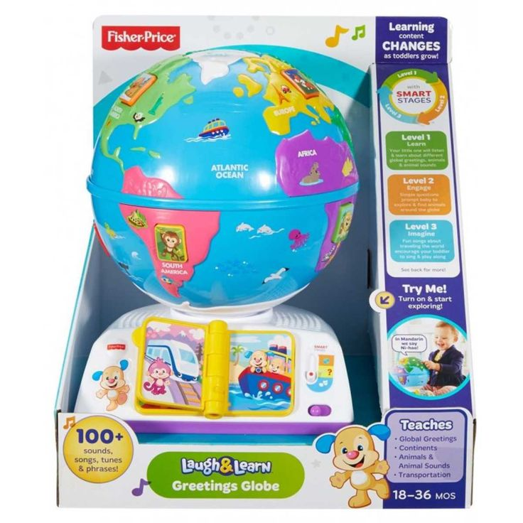 With this interactive globe, little ones can hold the whole world in their hands and take it for a spin. Pressing the 7 animal buttons on the globe introduces budding explorers to the continents, animals, greetings and music they'll find along the way! When they flip the travel book pages, they'll learn how Puppy & Sis travel the globe. And when they spin the globe, they'll hear fun songs & phrases all about exploring new places.