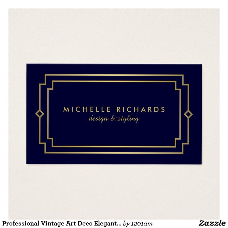 Download Elegant Art Deco Professional Navy/Gold Business Card | Zazzle.com in 2021 | Art deco business ...