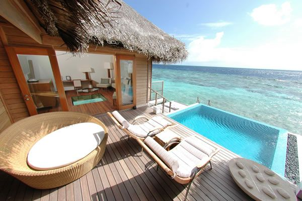 Bungalow w/the infinity pool built over the ocean. Maldives