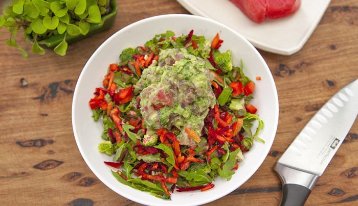 Raw Tuna Salad with Avocado Dressing - Good Chef Bad Chef