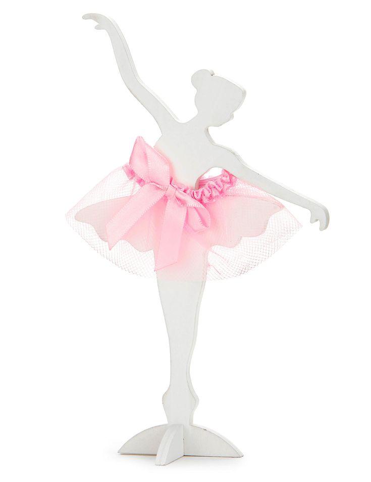 Ballerina in legno bianco e tulle rosa su VegaooParty, negozio di articoli per feste. Scopri il maggior catalogo di addobbi e decorazioni per feste del web,  sempre al miglior prezzo!