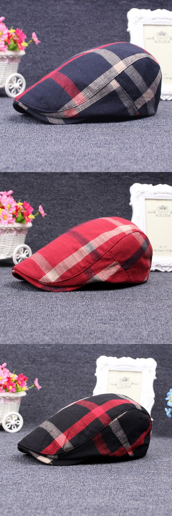 Men Women Plaid Grid Berets Caps / Casual Cotton Flat Hats