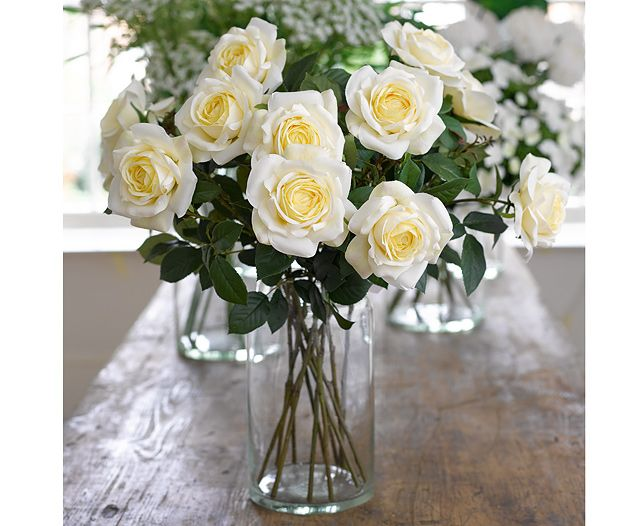 English Cup White Rose Stem | Bloom Artificial Flowers Perfect stem arrangement using our everlasting Rose stem