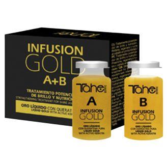INFUSION GOLD Θεραπεία άμεσης αναδόμησης και επαναφοράς των μαλλιών σας με ενεργή κερατίνη και υγρό χρυσό!