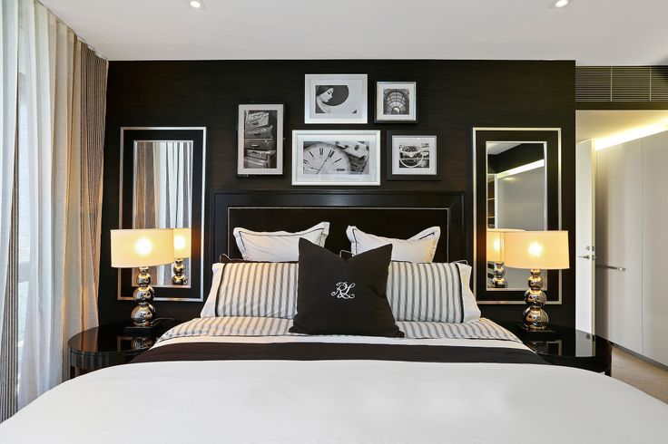 One of our sub penthouse apartments at Pier in Brisbane has been given a spectacular makeover styled in an opulent palette of blacks, white and creams and adorned with pieces from the latest Ralph Lauren collection.  Here is the apartment's very chic master bedroom.