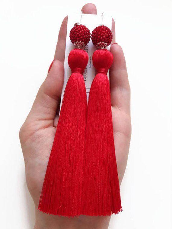 7cm Loop Decorative Cotton Tassle Large Chunky Red Key Tassel 13cm